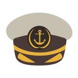 Capitaine Hat Illustration plate de vecteur de style illustration libre de droits
