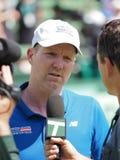 Capitaine Jim Curier d'équipe de Davis Cup après gain du lien de Davis Cup contre l'Australie Images libres de droits