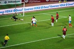 capitaine Roman Shirokov de la Russie a marqué un but contre le Portugais Images stock