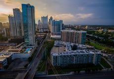 Capitais modernos de Austin Texas Aerial Sunrise Fotografia de Stock