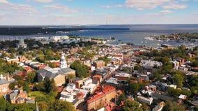 Capital aéreo de la casa del estado de Annapolis Maryland de la visión panorámica almacen de video