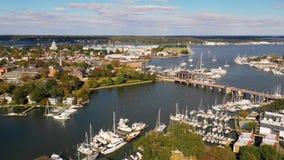 Capital aéreo de la casa del estado de Annapolis Maryland de la visión panorámica metrajes