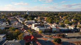 Capital aéreo de la casa del estado de Annapolis Maryland de la visión panorámica almacen de metraje de vídeo