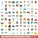 100 capital advertising icons set, flat style. 100 capital advertising icons set in flat style for any design vector illustration Royalty Free Stock Image