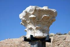 Capital of ancient column in Caesarea, Israel Stock Photography