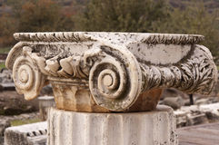 The Capital. Of ancient column in natural light close up Stock Images