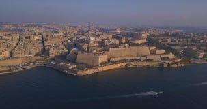 Capital antigo da opinião aérea do panorama de Valletta video estoque