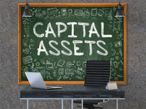 Capital Assets on Chalkboard in the Office. 3D Render. Green Chalkboard with the Text Capital Assets Hangs on the Dark Old Concrete Wall in the Interior of a Stock Images