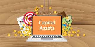 Capital assets illustration written on text laptop with paper document gold coin graph and chart  wooden background Stock Photo