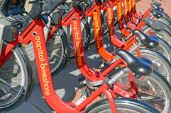 Capital bikeshare, a Bicycle share program in Washington DC Royalty Free Stock Photo