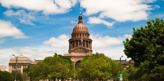 Capital Building Austin Texas Government Building Blue Skies Stock Image
