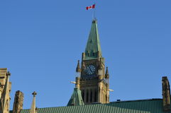 Capital building in downtown with the Canadian flag (Ottawa) Stock Photography