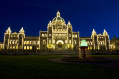 Capital Building of Victoria Canada at Night Time Royalty Free Stock Photo