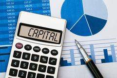 Capital on calculator Royalty Free Stock Image