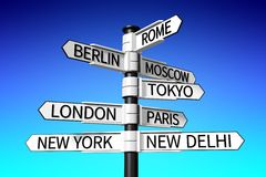 capital cities signpost... Stock Photography