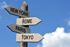 Capital cities signpost Stock Photo