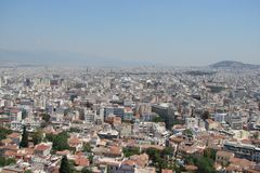 Capital city of Athens. Greece. 06.16. 2014. The landscape of the city of ancient Athens from the height of the Acropolis hill. Royalty Free Stock Image