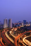 Capital city at dusk. View of akarta city with multiple flyovers at night Stock Photography