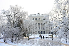 Capital city of Latvia Riga. Latvian national opera house in Capital city of Latvia Riga in a cold winter day Stock Photos