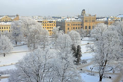 Capital city of Latvia Riga. Latvian university house in Capital city of Latvia Riga in a cold winter day Stock Images