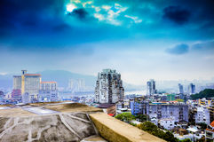 Capital city Perspective on the plane. Top view. Royalty Free Stock Image