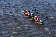 Capital City Rowing Crew races in the Head of Charles Regatta Men`s Youth Eight Royalty Free Stock Image