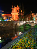Capital city of Slovenia - Ljubljana by night Stock Image