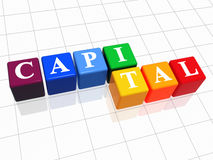 Capital in colour 2. 3d colour boxes with text - capital, word Royalty Free Stock Image