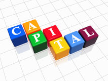 Capital in colour. 3d colour boxes with text - capital, word Stock Images