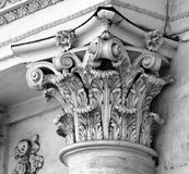 Capital of column of classical Corinthian order. On the Triumphal Arch in Chisinau, Moldova Royalty Free Stock Photo