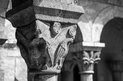 Capital of a Column. In the Cloisters Museum, New York Royalty Free Stock Photography