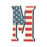 Capital 3d letter M with american flag texture isolated on white background. Vector illustration. Element for design. Kids alphabe Stock Photography