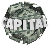 Capital 3d Word Loan Funding Financing Money Ball Stock Image