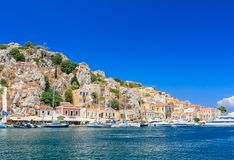 A capital da ilha de Symi - Ano Symi Imagem de Stock