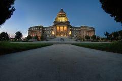 Capital de Boise en la noche Imágenes de archivo libres de regalías