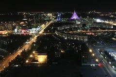 A capital de Cazaquistão Cidade da noite Imagem de Stock Royalty Free