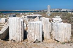Capital de colonne ionien, détail architectural sur l'île de Delos photo libre de droits