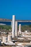 Capital de colonne ionien, détail architectural sur l'île de Delos photographie stock
