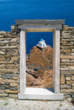 Capital de columna jónico, detalle arquitectónico en la isla de Delos fotos de archivo libres de regalías