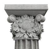 Capital de coluna com as folhas do carvalho no fundo branco imagem de stock royalty free