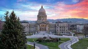 Capital de estado de Idaho com nascer do sol e nuvens Fotografia de Stock Royalty Free