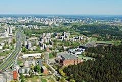 Capital de la ciudad de Vilna de la opinión aérea de Lituania Foto de archivo libre de regalías