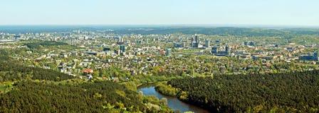 Capital de la ciudad de Vilna de la opinión aérea de Lituania Imagenes de archivo
