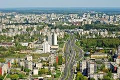 Capital de la ciudad de Vilna de la opinión aérea de Lituania Foto de archivo