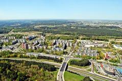 Capital de la ciudad de Vilna de la opinión aérea de Lituania Imagen de archivo libre de regalías