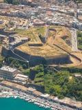 Capital de la fortaleza de la ciudad de Kerkyra del isalnd Grecia de Corfú Fotografía de archivo libre de regalías