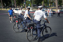 Capital de la policía de Roma en servicio durante la raza para la curación 2015, Roma Italia Fotografía de archivo libre de regalías