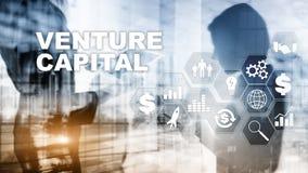 Capital de riesgo en la pantalla virtual Concepto del negocio, de la tecnolog?a, de Internet y de la red abstraiga el fondo imagen de archivo