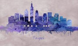 Capital de Taiwán, horizonte de Taipei ilustración del vector