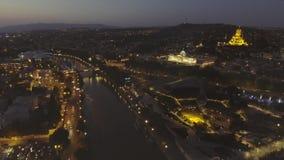 Capital de Tbilisi de Georgia Vista aérea del centro de Tbilisi metrajes